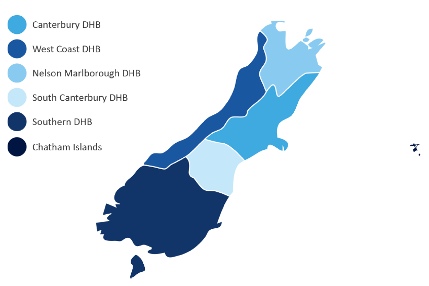 New Zealand District Health Boards Map.Canterbury District Health Board Canterbury West Coast New